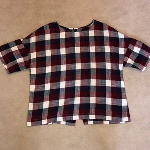 Zara Red Navy and White Plaid Top Sz Small